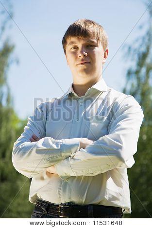 Man  Against Summer Park