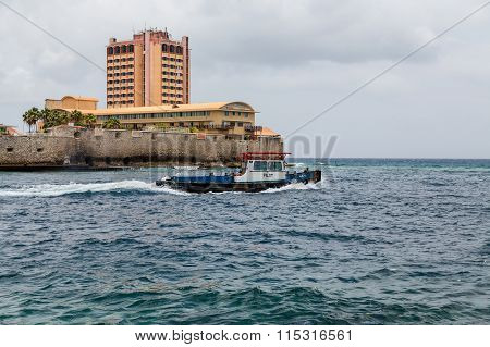 Pilot Boat Past Point On Curacao