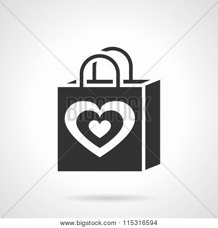 Valentines day shopping bag black vector icon