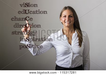 Vision Education Chance Direction Strategy Inspiration Positive Success - Beautiful Girl Touching Te