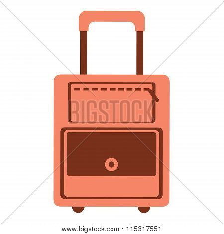 Vector illustration of red travel bag isolated on the white background