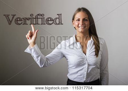 Verified - Beautiful Girl Touching Text On Transparent Surface