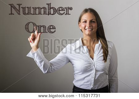 Number One - Beautiful Girl Touching Text On Transparent Surface
