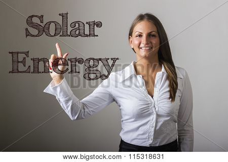 Solar Energy - Beautiful Girl Touching Text On Transparent Surface
