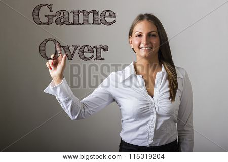 Game Over  - Beautiful Girl Touching Text On Transparent Surface
