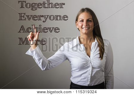 Together Everyone Achieve More Team - Beautiful Girl Touching Text On Transparent Surface