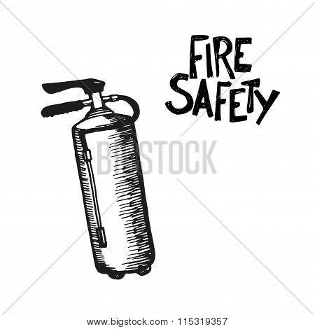 Hand drawn fire extinguisher