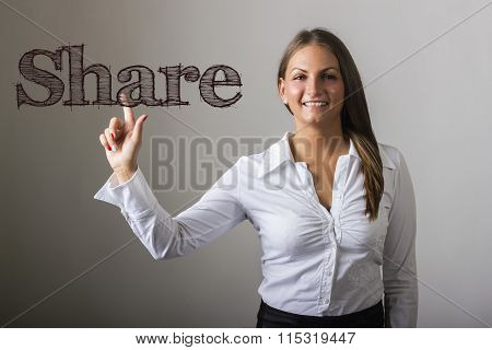 Share - Beautiful Girl Touching Text On Transparent Surface