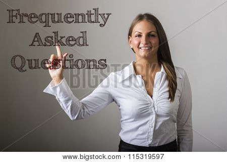 Frequently Asked Questions - Beautiful Girl Touching Text On Transparent Surface
