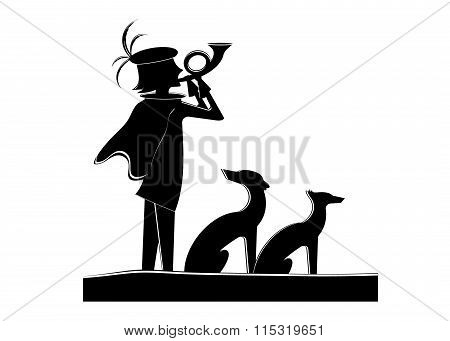 silhouette of the hunter and dogs.