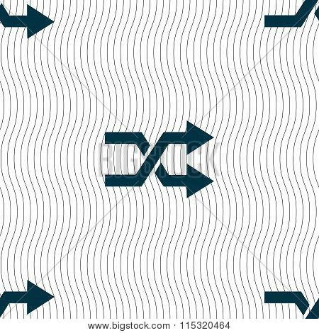 Shuffle Icon Sign. Seamless Pattern With Geometric Texture.