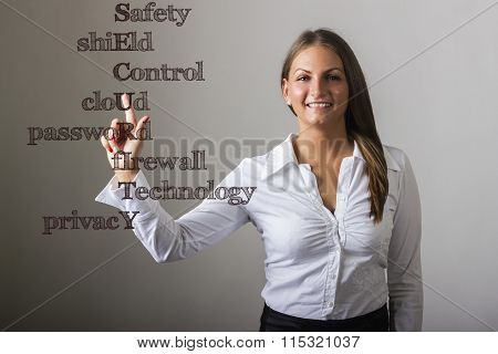 Safety Shield Control Cloud Password Firewall Technology Privacy Security - Beautiful Girl Touching