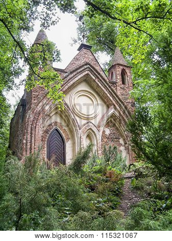 Gothic House in a park in Arkadia, Poland