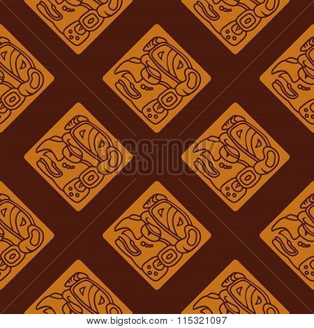 Seamless pattern with glyphs of the Maya periods calendar names