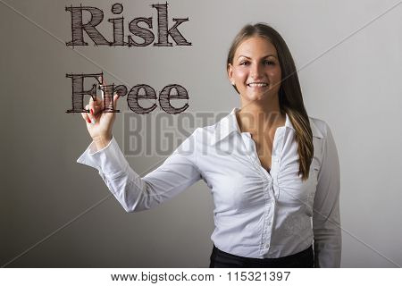 Risk Free - Beautiful Girl Touching Text On Transparent Surface