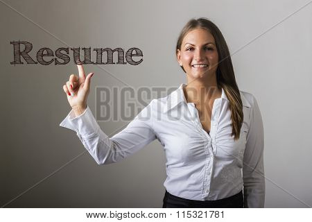 Resume - Beautiful Girl Touching Text On Transparent Surface