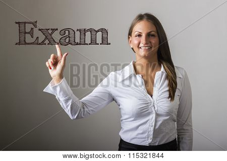 Exam - Beautiful Girl Touching Text On Transparent Surface