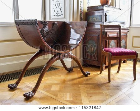Antique furniture in the Radziwill palace in Nieborow, Poland