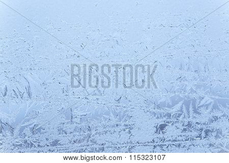 close up of frost pattern on window