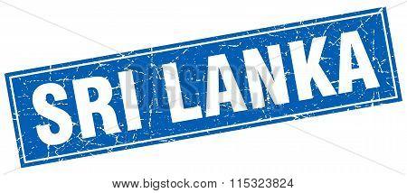 Sri Lanka blue square grunge vintage isolated stamp