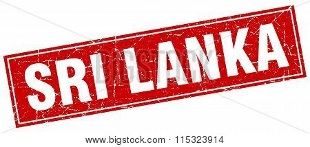 Sri Lanka red square grunge vintage isolated stamp