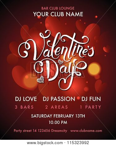 Happy Valentine\'s Day Party Flyer. Vector Illustration Eps10