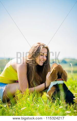 Teenager with her dog