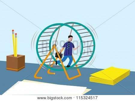 Workaholic concept and more. Businessperson or Sales Marketing Running Endless in a Hamster Wheel. E