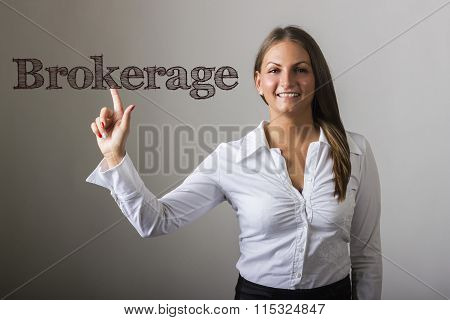 Brokerage - Beautiful Girl Touching Text On Transparent Surface