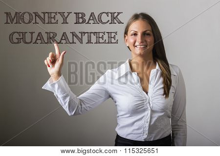 Money Back Guarantee - Beautiful Girl Touching Text On Transparent Surface