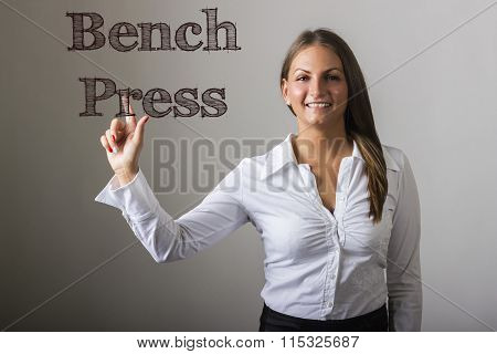 Bench Press - Beautiful Girl Touching Text On Transparent Surface
