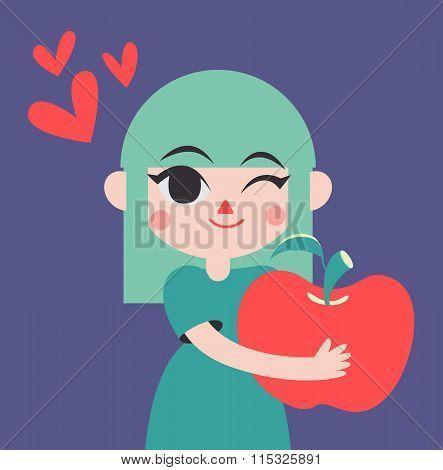 Cute Girld Holding A Giant Apple