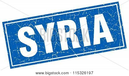 Syria blue square grunge vintage isolated stamp