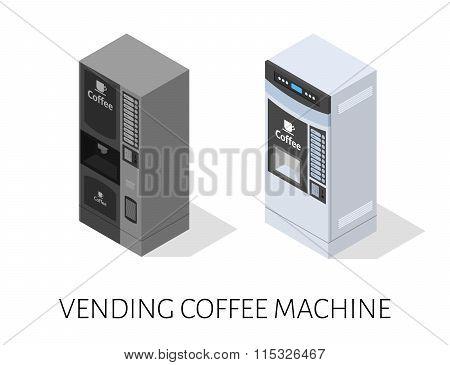 vending coffee machine isometric vector