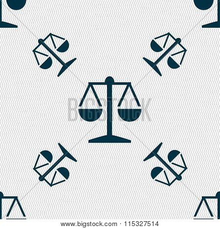 Libra Icon Sign. Seamless Pattern With Geometric Texture.