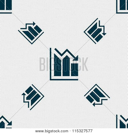 Histogram Icon Sign. Seamless Pattern With Geometric Texture.