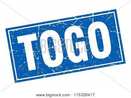 Togo blue square grunge vintage isolated stamp