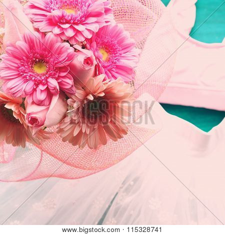 Ballet dancers costume and flowers
