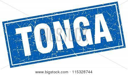 Tonga blue square grunge vintage isolated stamp