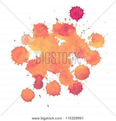 Abstract watercolor paint aquarelle hand drawn colorful splatter stain