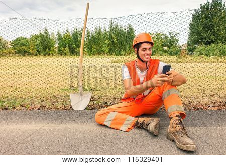 Worker Road Man Having Fun Taking Selfie With Modern Mobile Phone - Portrait Of Young Surveyor