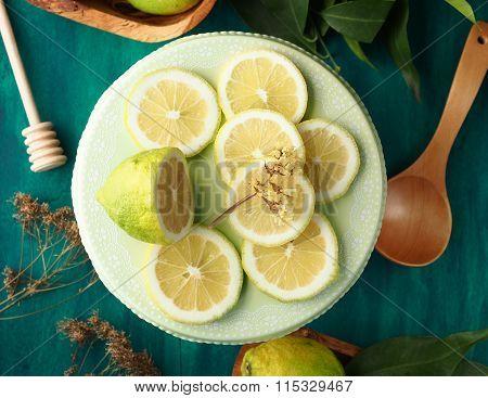 Sliced lemon still life