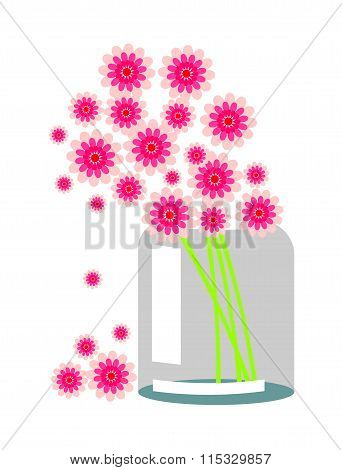 Vector Still Life. Composition With Pink Flowers In A Transparent Bank
