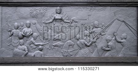low relief picture in park Taman mini Indonesia