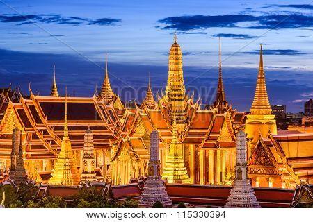 Bangkok, Thailand at Royal Palace and Temple of the Emerald Buddha at night.