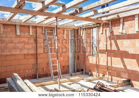 Construction Site Tools And Details - Metal Ladder, Brick Layers, Wood And Timber