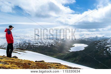 Tourist on a hilltop