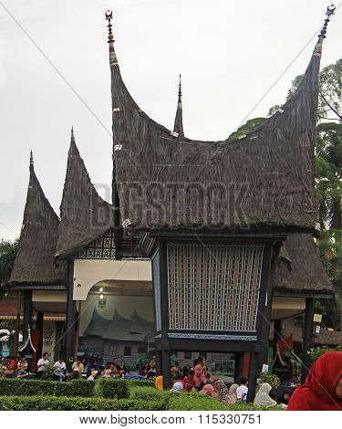 typical houses of some tribes in park Taman mini Indonesia