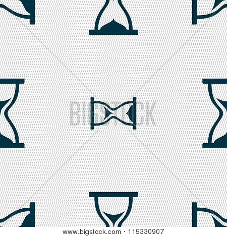 Hourglass Icon Sign. Seamless Pattern With Geometric Texture.