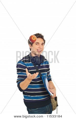 Cool Student Guy Throw Up Apple